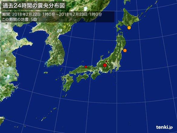 test ツイッターメディア - 【地震状況コメント】 2018年2月22日の有感地震は5回です。 本日の地震は、北海道・宮城県・長野県・鳥取県であった。 長野県南部でM3.1、震度3及び宮城県沖でM3.9、震度2や浦河沖でM3.6、震度1など この日の地震は少なめだ。金曜日からも広範囲で突然に起きる強い地震や連発地震などに、ご注意です。 https://t.co/x9Z58tpNUK