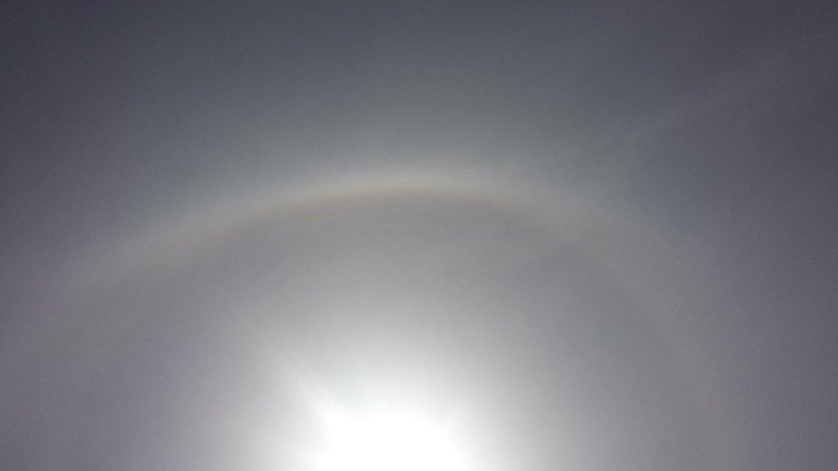 test ツイッターメディア - 太陽の周りに虹の輪っかができてる。画像は上部しかないけど、グルッと一周あるのだ。すっごい分かりづらいなぁ(笑) https://t.co/VpCcPY1Jgo