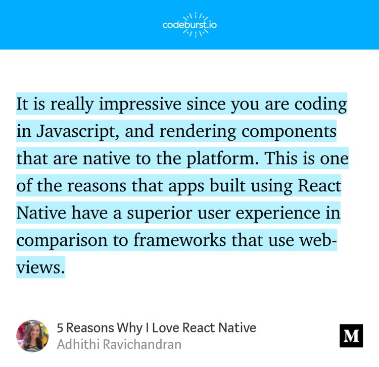 """5 Reasons Why I Love #ReactNative"" — @AdhithiRavi"