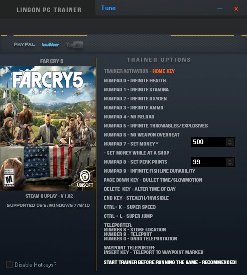 LinGon 20 On Twitter Far Cry 5 Trainer Update