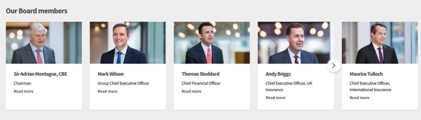 Photographs of the main board of directors at Aviva plc. 5 white men.