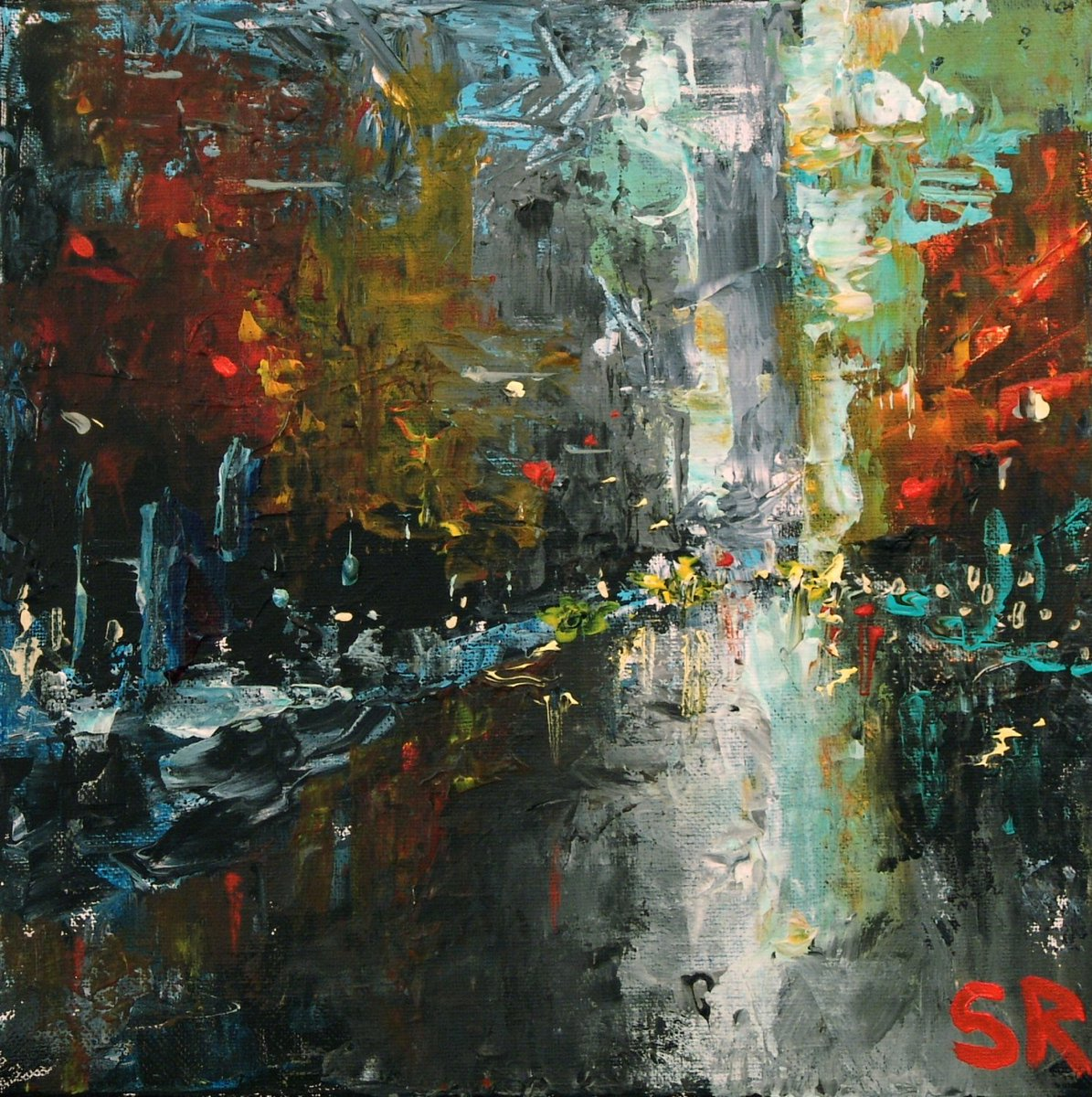 Sam Raines on Twitter   Large Art  Large Painting  36 x 36  NIGHT     Sam Raines on Twitter   Large Art  Large Painting  36 x 36  NIGHT CITY  New  York Cityscape  Abstract Painting  NYC Painting  Cityscape Painting