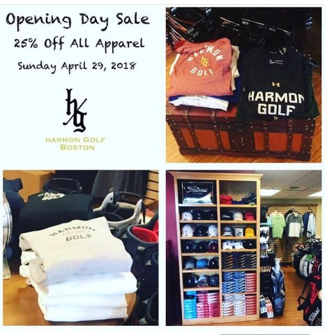 Harmon Golf Boston on Twitter   Swing by and SAVE on all APPAREL     Swing by and SAVE on all APPAREL tomorrow as we have our Opening Day  Tourney Sale going on in our Pro Shop all day  Look GOOD and play  GOOD pic twitter com