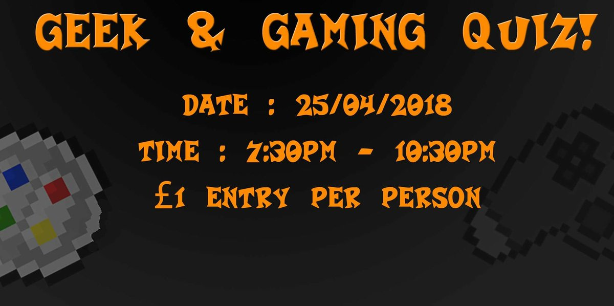 Geek and Gaming Quiz   Kettering VGC    Twitter Geek and gaming Quiz tomorrow in  kettering who s  going pic twitter com SwbqlQ41dC