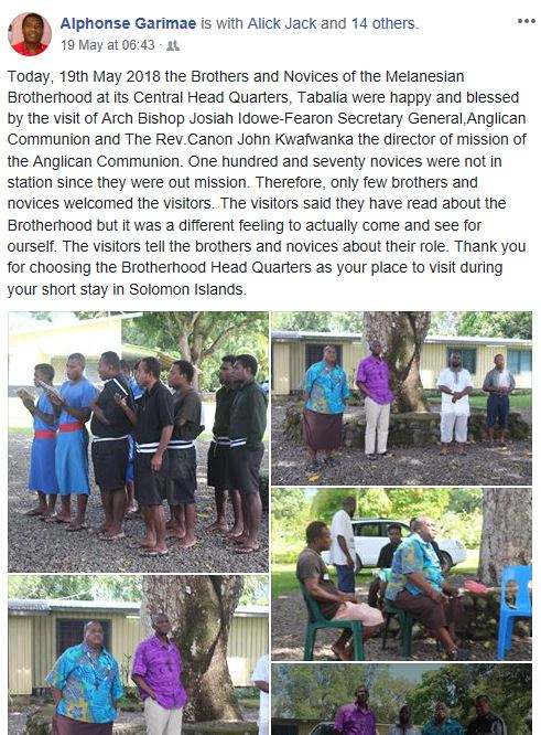 Brothers and Novices of the Melanesian Brotherhood at Tabalia were happy & blessed by the visit of Archbishop Josiah Idowe-Fearon Secretary…