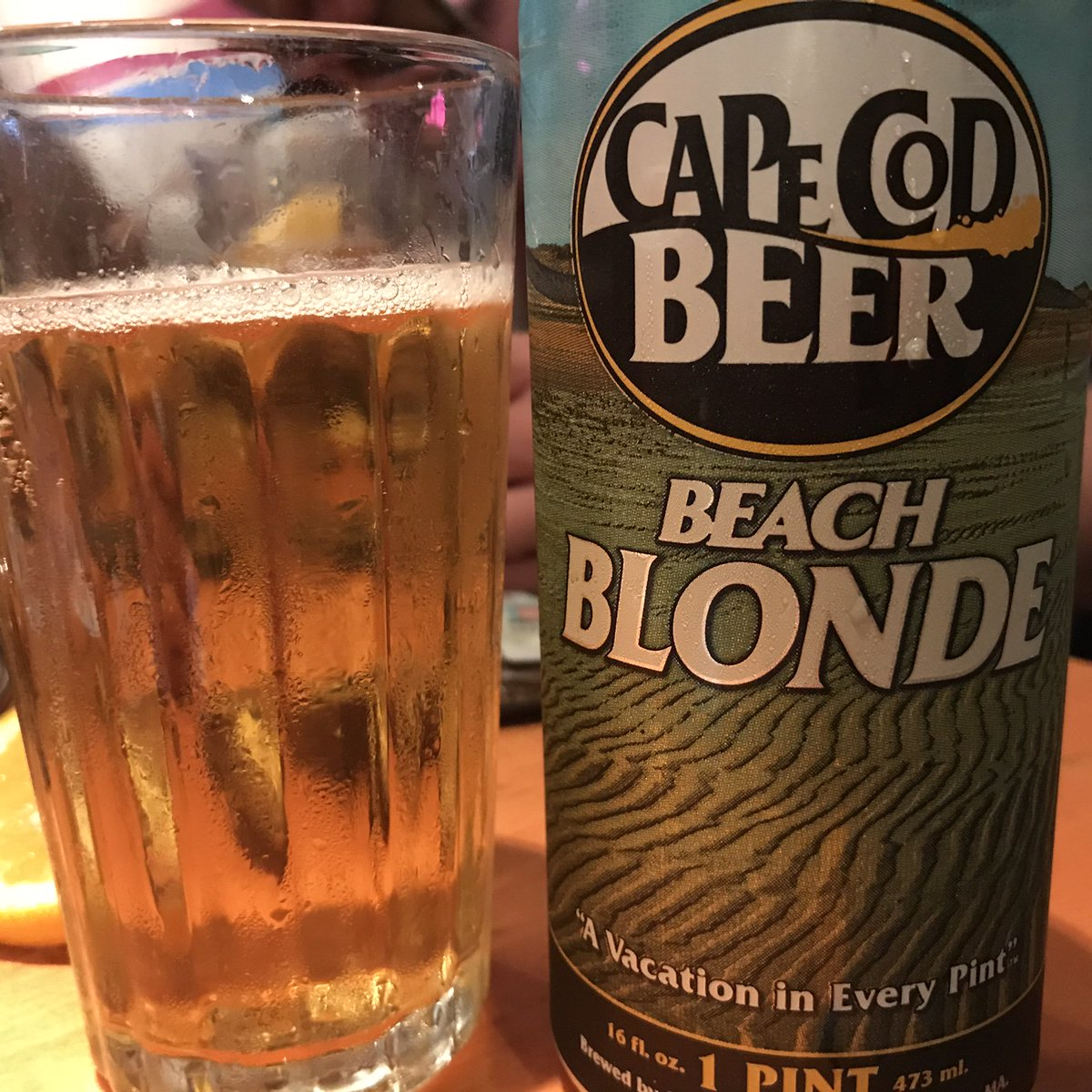 Beach Blonde from Cape Cod Beer to quench hot day on bicycle