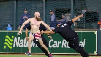 Astros Streaker In American Flag Underwear Puts Security Guards On Skates