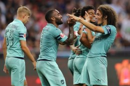 Image result for Lacazette scores twice as Arsenal thrash Paris St-Germain 5-1