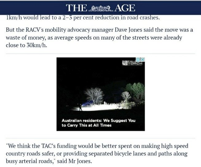 """test Twitter Media - """"RACV mobility advocacy manager""""  shoots down 30kph as waste of money ....speaking on behalf of the largest motoring body in Australia he's holding tune https://t.co/HrHhNjixCo"""