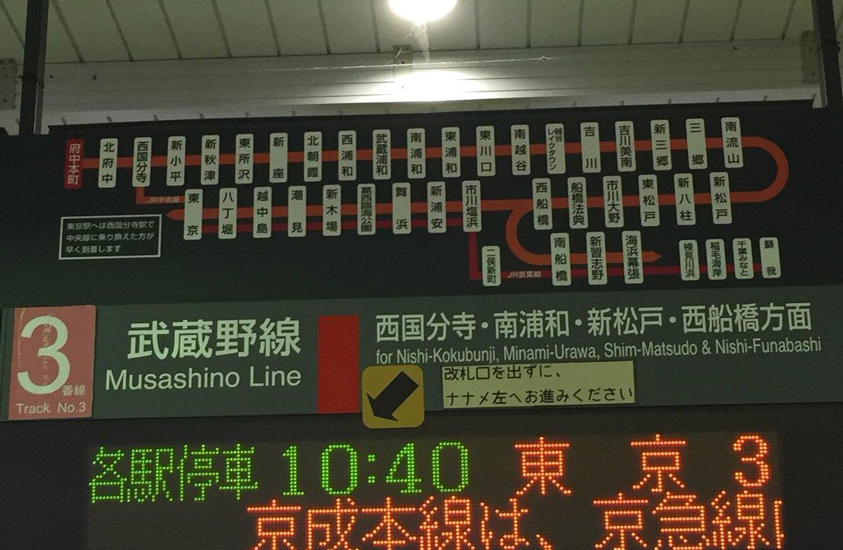 test ツイッターメディア - 府中本町から、乗り換えなしで東京駅にも、海浜幕張駅にも行ける(時間限定)ことを昨晩知った。なので、今日は府中本町から武蔵野線で幕張に向かいます! 府中本町駅は、府中競馬場にも大国魂神社にも近くて便利なところにありますが、自分は今までここから電車に乗った記憶がほぼないので、新鮮。 https://t.co/XhJ1mSYZX2
