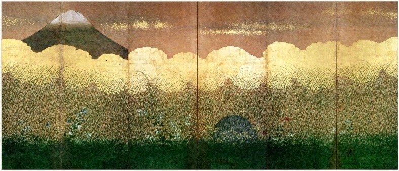 test ツイッターメディア - 当館オリジナル #スカーフ は当館の #収蔵品「武蔵野図屏風」をモチーフとしてデザインしました。武蔵野の原風景をとらえたこの屏風は、秋草とススキが生い茂る大地から月が顔をのぞかせ、野辺の一面に広がる金雲の向こうには富士山も描かれています。 #ミュージアムグッズ #武蔵野 #秋 https://t.co/NLKPMkfwqO