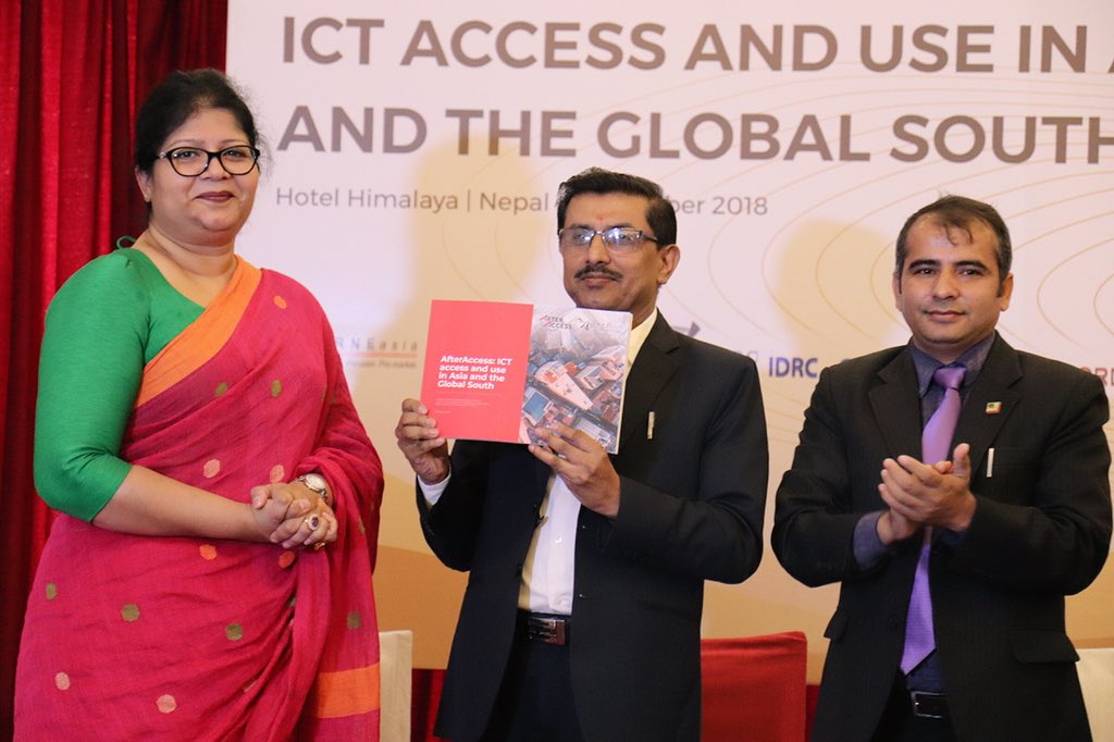 Helani Galpaya, Birendra Kumar and Babu Ram Aryal during official unveiling of AfterAccess Asia report
