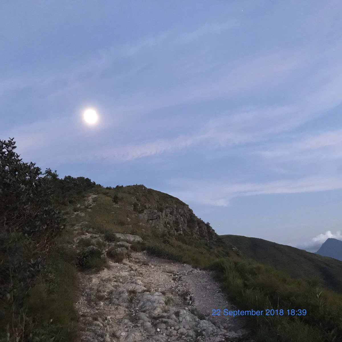 Continue hike into evening under full moon light