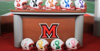 LOOK: Miami (OH) Football Unveils Cancer Awareness Helmets