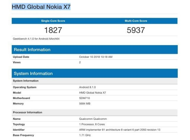 RT @thetechwarf: Nokia 7.1 Plus stops by Geekbench ahead of its announcement...