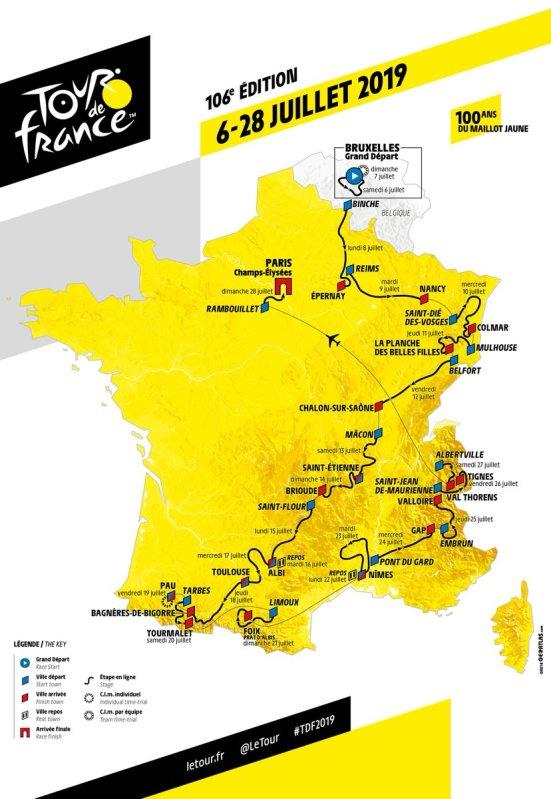 Recorrido Tour Francia 2019