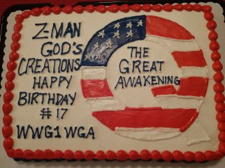 """Travis View a Twitter: """"A QAnon cake to celebrate the anniversary ..."""