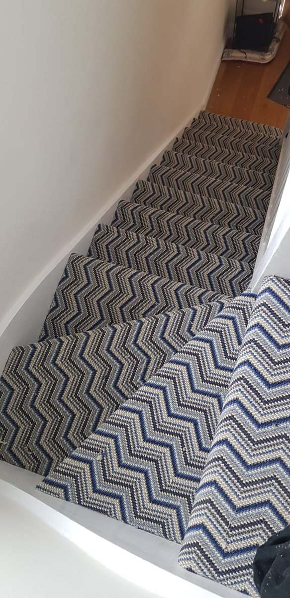 Rdf Carpets Flooring Ltd On Twitter While Nasa Rejoice Their | Zig Zag Carpet On Stairs | Mohawk Patterned Carpet | Stair Triangular Landing | Before And After | American Style | Silver Grey