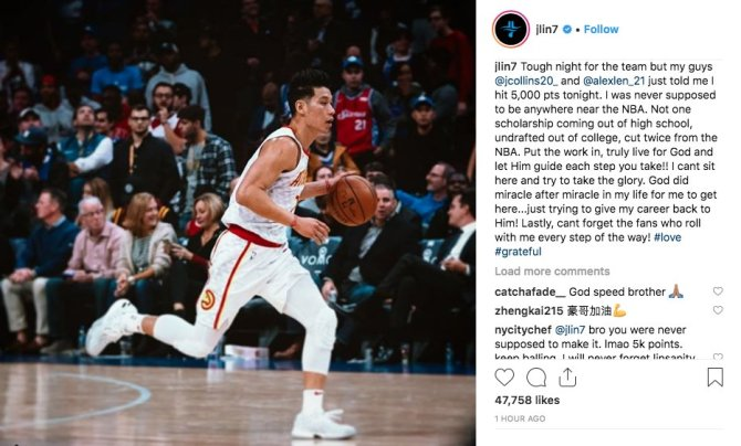 @JLin7 (IG) post on his 5K points embodies why we love him.  He thanked God and his faithful fans. Despite no D1 scholarship and undrafted in the NBA, he made it.  Thank you, Jeremy. Your #neversurrender attitude and #humility truly inspire millions of fans!! 🙌🏀🔥🙏