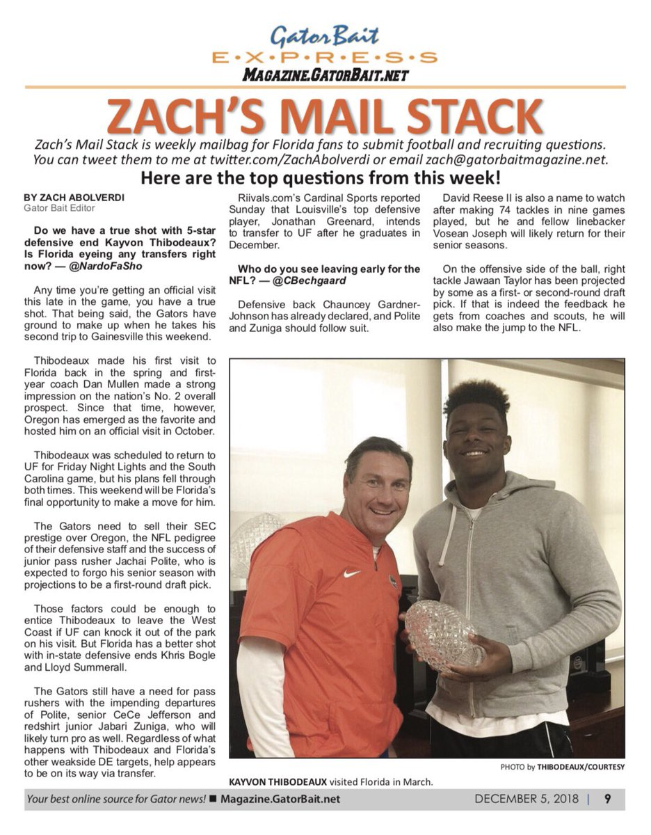 zach abolverdi on twitter new edition of gator bait magazine out now at https t co gzjwubldzv featured this week gators set for another top 10