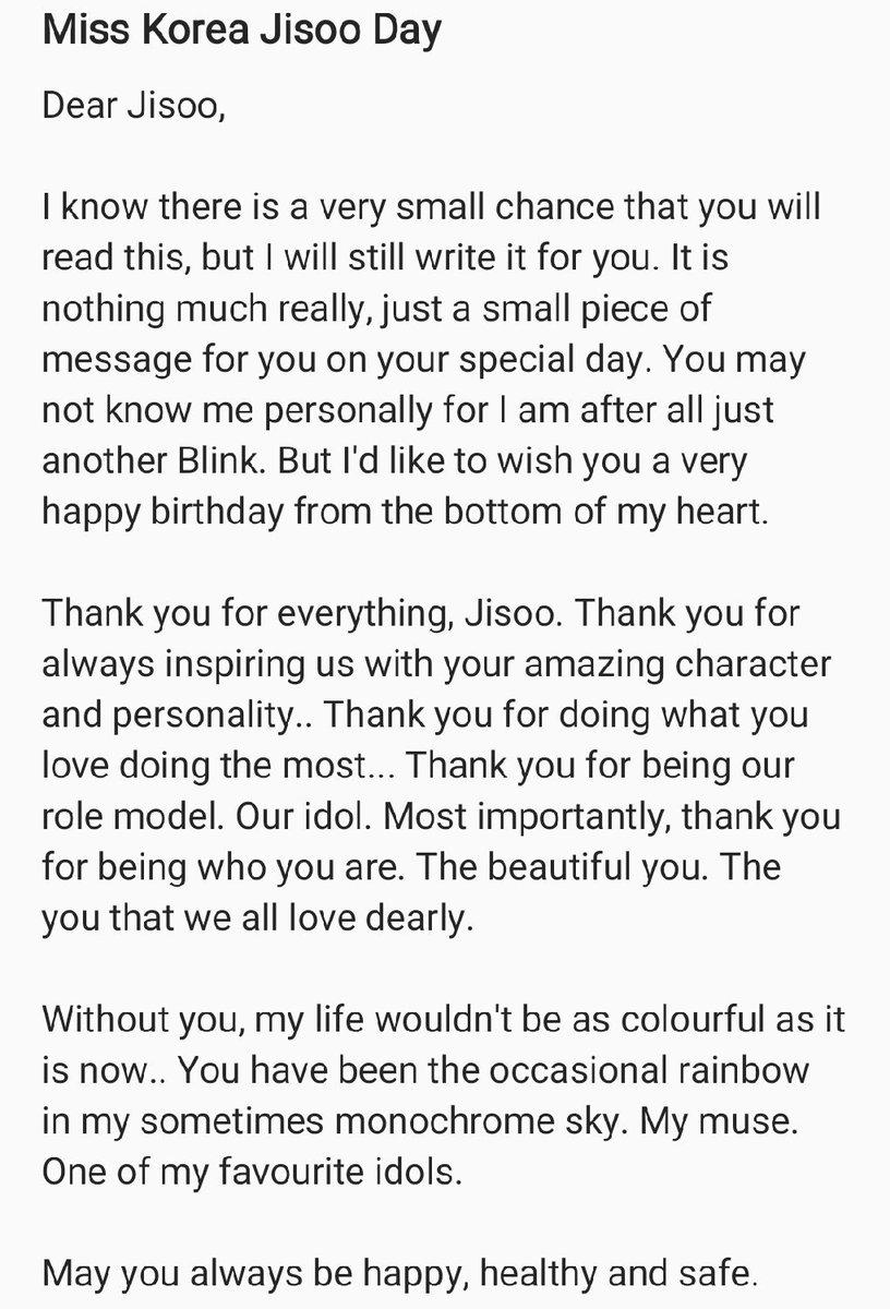 One In A Million On Twitter My Open Letter For Our Goddess Jisoo Happy Birthday Jisoo Yaa We Love You So Much Misskoreajisooday Bloomingjisooday Https T Co Hzwyesvszw