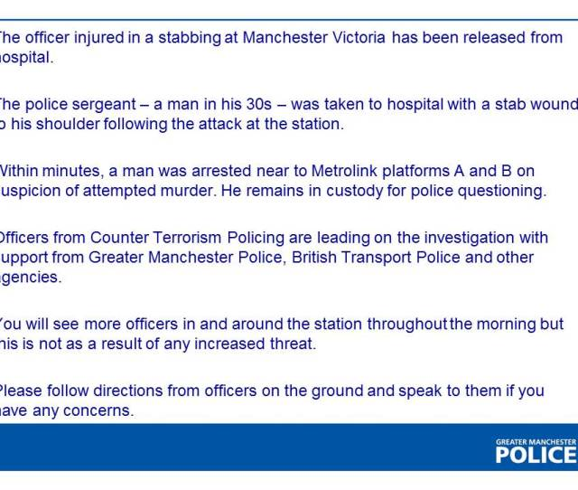 They Detained A Man Holding A Knife Chief Constable Ian Hopkins Of Greater Manchester Police Said In A Statement