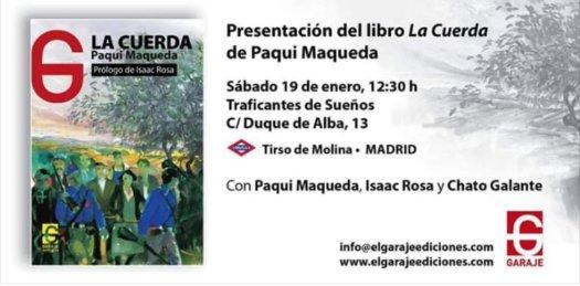 test Twitter Media - Presentación del libro La Cuerda por la autora Paqui Maqueda Fernández.  Sábado 19 de enero, 12:30 h Traficantes de Sueños    C/Duque de Alba, 13 (Metro Tirso Molina) https://t.co/JKWO30E7tY