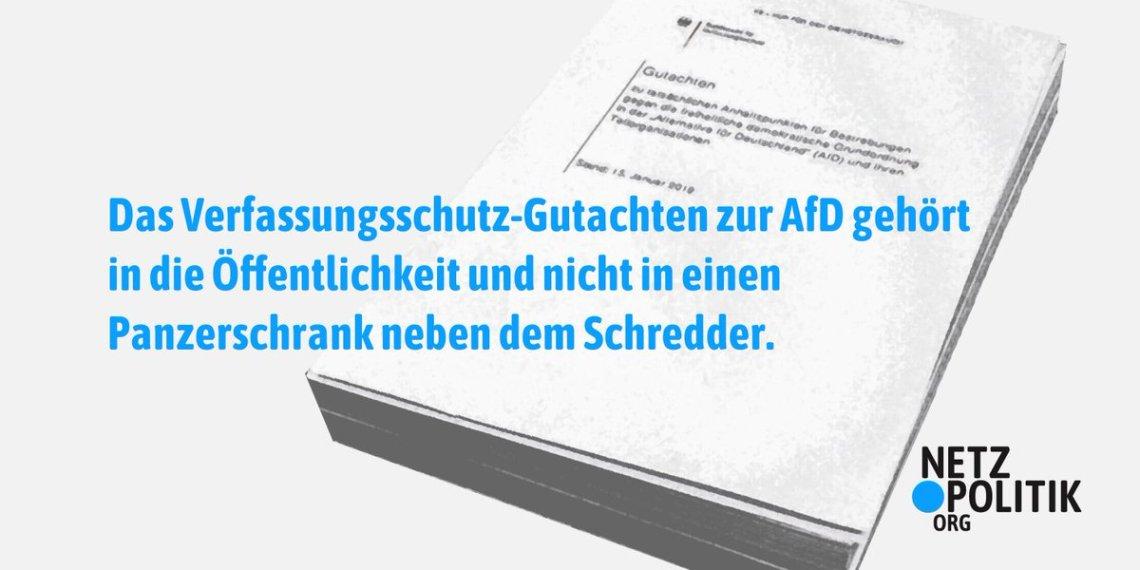 Aus Vielen Grunden Https Netzpolitik Org  Wir Veroeffentlichen Das Verfassungsschutz Gutachten Zur Afd Pic Twitter Com Jztfamjcxc