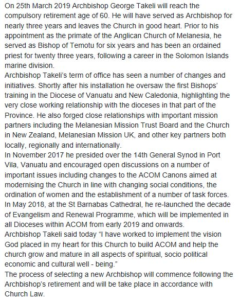 In accordance with Anglican Church of Melanesia's Constitutional Canons the General Secretary Dr Abraham Hauriasi advises that the current…