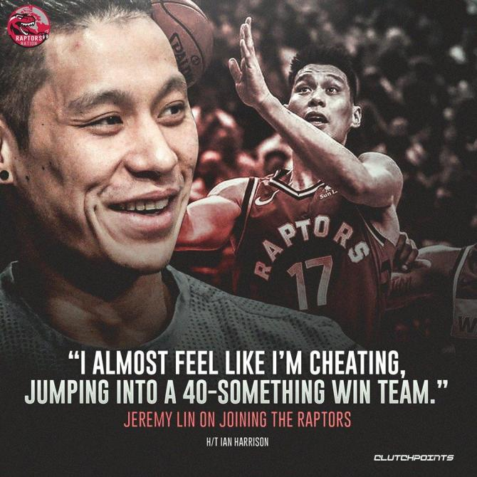 From a lottery team, to one of the East's best. We can't blame you, Jeremy Lin. 👊👌  #WeTheNorth #Raptors