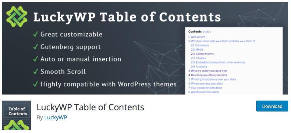 블로그 글에 목차 만들기 플러그인 - LuckyWP Table of Contents