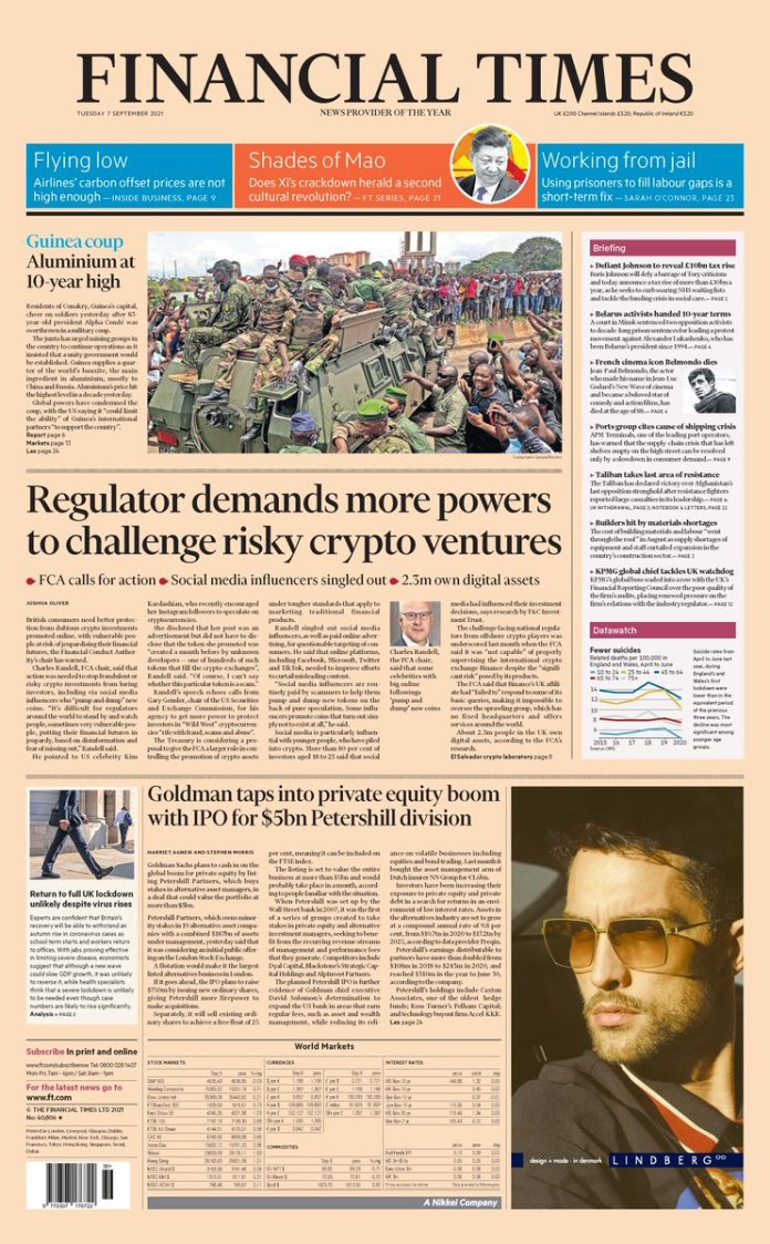 """Financial Times on Twitter: """"Just published: front page of the Financial  Times UK edition Tuesday September 7 https://t.co/5Z4qnyWZQO… """""""