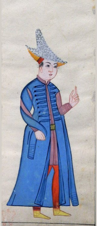 An illustration of a young Armenian in traditional blue kaftan.