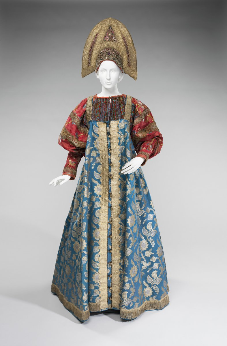 This object is from the collection of Natalia de Shabelsky (1841-1905), a Russian noblewoman compelled to preserve what she perceived as the vanishing folk art traditions of her native country. Traveling extensively throughout Great Russia, she collected many fine examples of textile art of the wealthy peasant class. From the 1870s until moving to France in 1902, Shabelsky amassed a large collection of intricately embroidered hand-woven household textiles and opulent festival garments with rich decoration and elaborate motifs. The Brooklyn Museum holdings include many fine examples including the majority of the garments. Portions of Shabelsky's collection are also housed at the Museum of Fine Arts, Boston, the Cleveland Art Museum, and the Russian Museum of Ethnography in St. Petersburg. - via the Met Museum