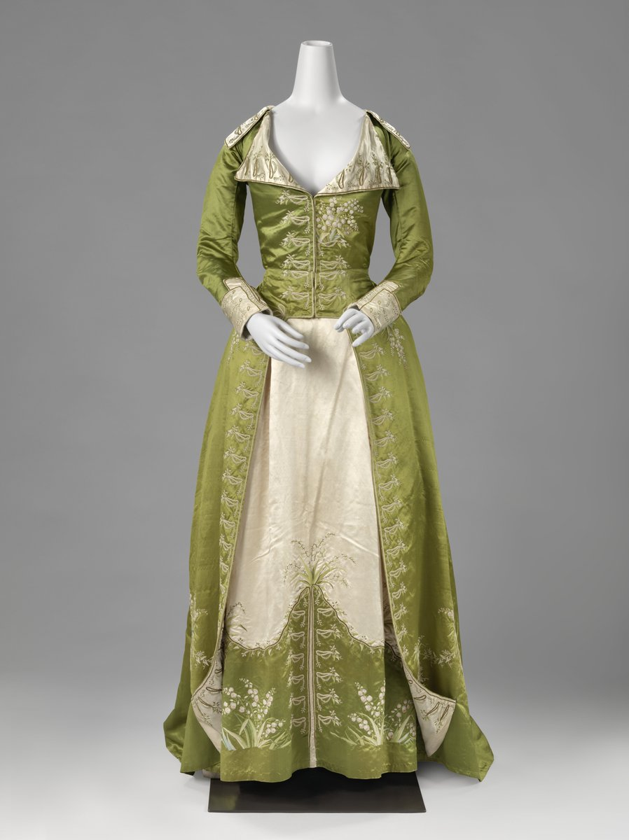 The origin of the redingote lies in long men's coats with a cutaway front, the riding coat. It is a striking example of the influence men's fashion exerted on women's fashion. A redingote for ladies consisted of an overcoat or gown, and a loose skirt in a contrasting colour, which enhanced the coat-like effect. Olive green and pale pink were a popular combination at the end of the 18th century. - rijksmuseum - c. 1786 - c. 1789