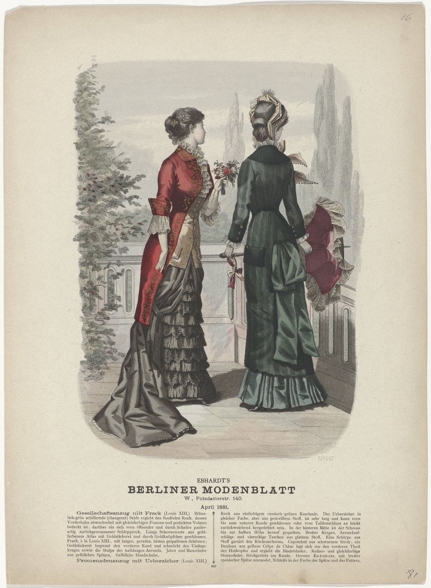 Starting from the 1850s, fashion magazines became more affordable and acquired a wider readership. The invention of the sewing machine around 1850 made it easier for people to make their own clothes. Ready-made garments were now also on offer, with fashion plates providing vendor addresses, such as the Maison Gagelin in Paris.  From 1881, a page from a German magazine. Two women in outfits, of the time, drapery and all. From Riljkemuseum.