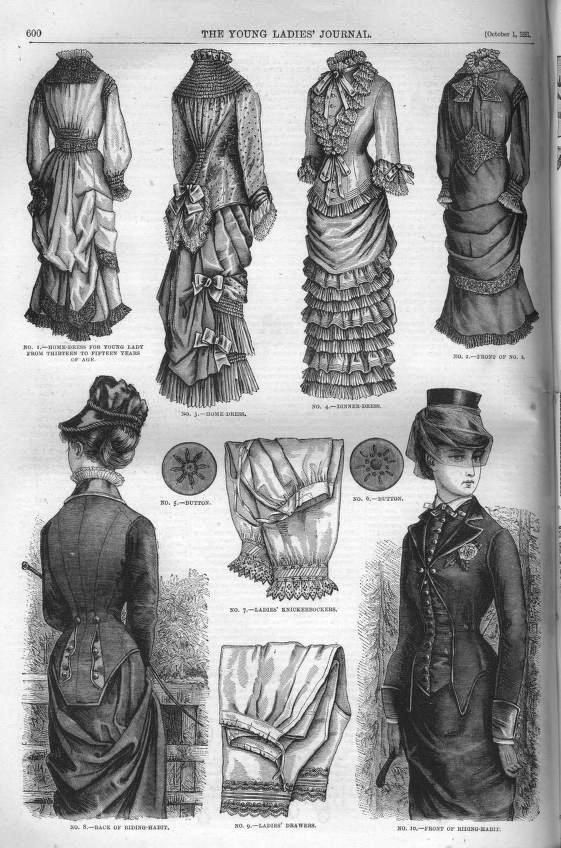 A page from the Young Ladies Journal with dresses, hats, and bloomers (yes!) as well as buttons that a woman might buy for wardrobe. Black and white drawings.