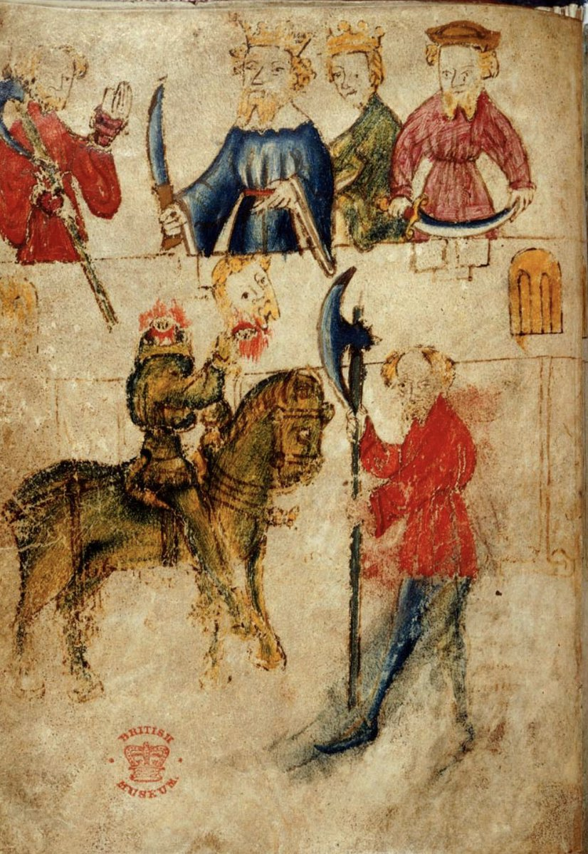 I'm not sure how to describe this because there are kings and people with swords, and the Green Knight with his head cut off, and Gawain, presumably, with the axe like WTF, wearing red.