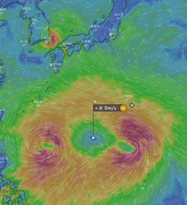 臺風9號と10號がお互いの渦が引っ張り合って無風地帯ができた ...