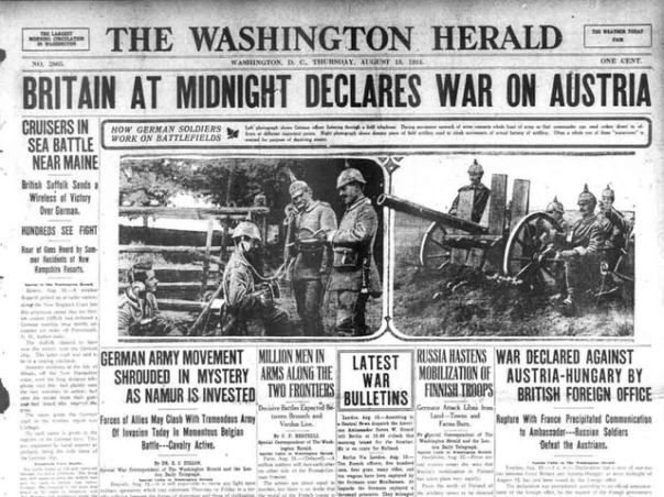 Image result for The United Kingdom declares war on Austria-Hungary; the countries of the British Empire follow suit