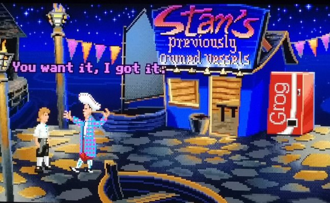 """Jany on Twitter: """"Just finished Monkey Island 2: LeChuck's Revenge as well.  As an adult, I gotta say, I can now truly appreciate Stan's epic  salesmanship 😄 Time to dive into the"""