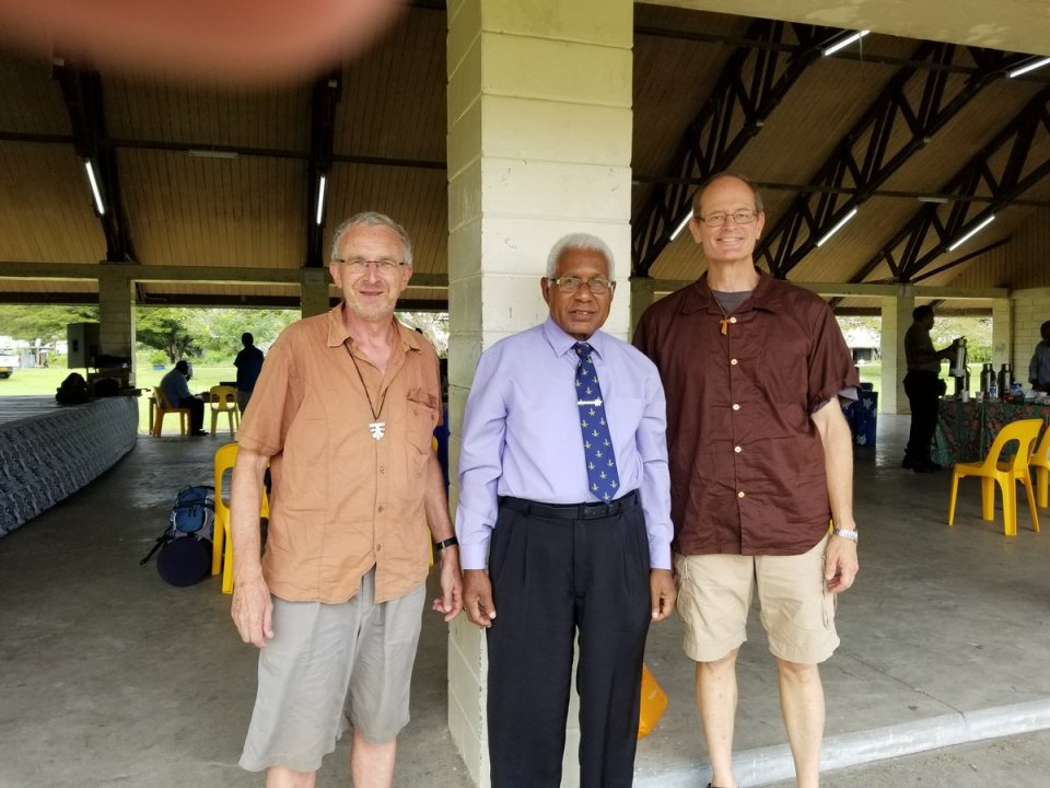 Seen here with Brother Clark Berge, visiting for a few weeks' teaching programme at Hautambu and Minister General Brother Christopher John.…