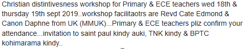 Please pray for the Christian Distinctiveness training for church schools in Honiara this week.