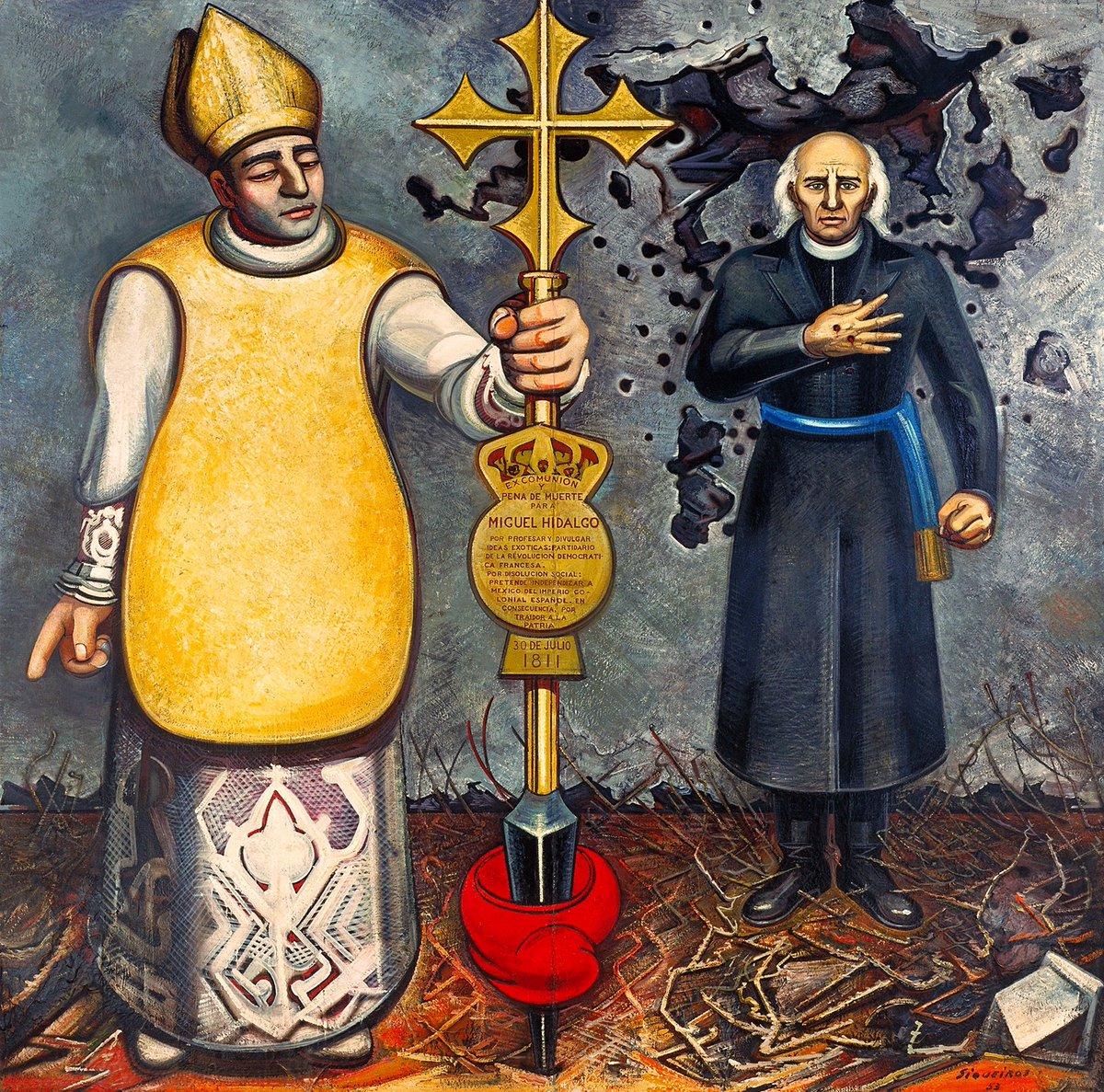 Pintura obispo e Hidalgo de Siqueiros. Excomunión y fusilamiento de Hidalgo