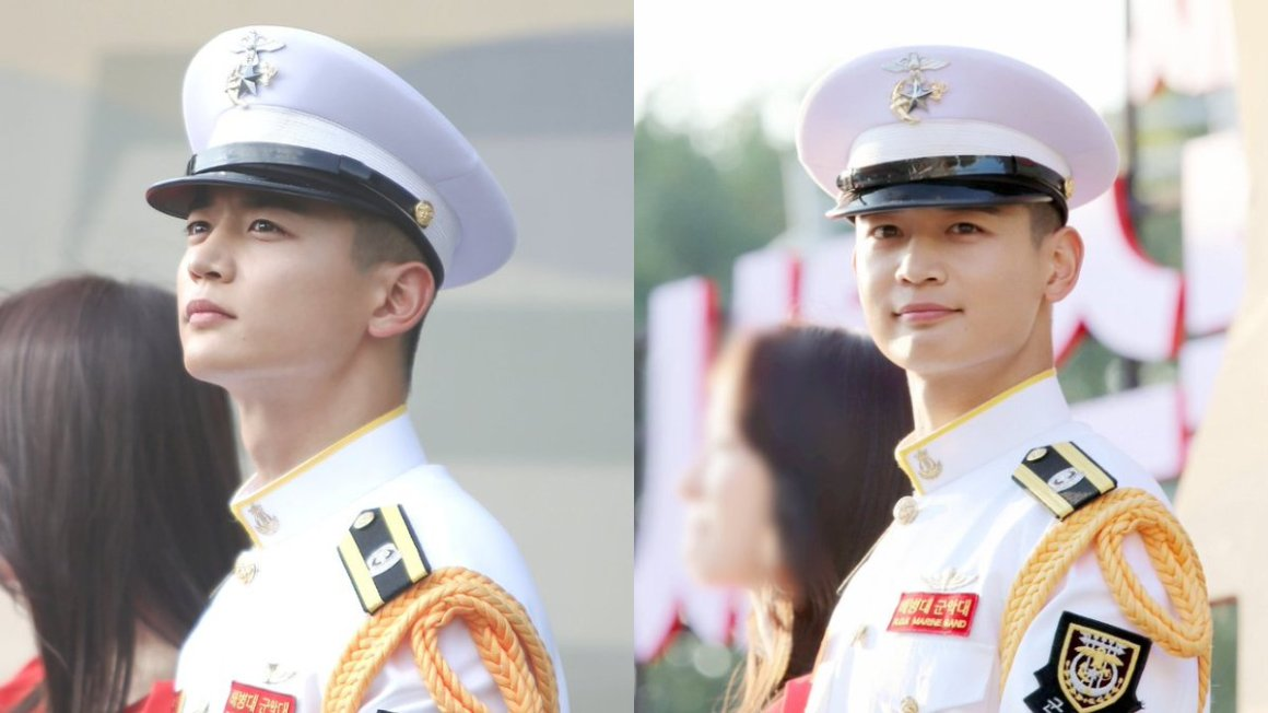"SBS Star on Twitter: ""#SHINee #MINHO, who is currently serving his  mandatory military duty as a marine, wowed the entire audience at a recent  event hosted by the Marine Corps. #민호 #샤이니 @"