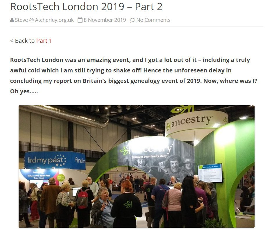 Also since last week's #AncestryHour (and to update things, my RootsTech London lurgy has now very nearly gone - yay!!)