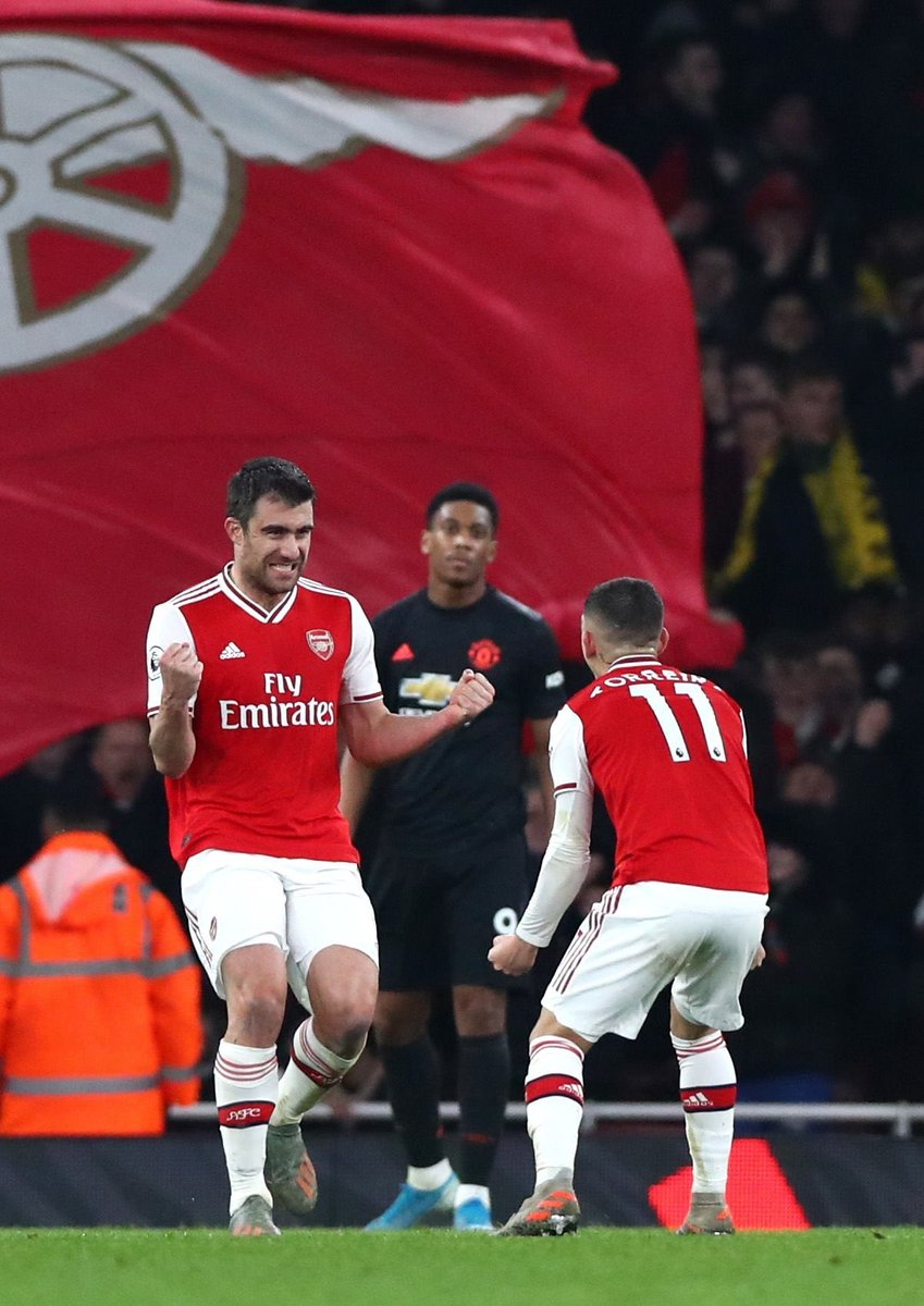"""afcstuff on Twitter: """"Photos: Lucas Torreira certainly enjoyed Sokratis'  goal to double Arsenal's lead towards the end of the first-half. 😍 #afc…  https://t.co/a00lOMnREn"""""""