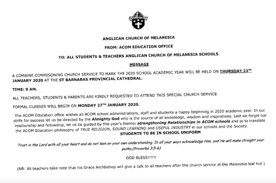 As the new academic school year begins in Melanesia next week, please pray for the church schools, pupils, teachers and support staff.