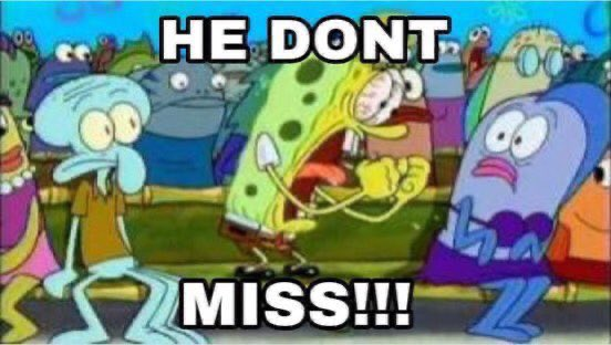 """reactions on Twitter: """"spongebob yelling he don't miss at purple fish… """""""
