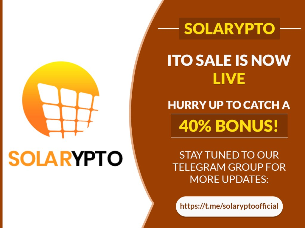 #Solarypto #ITO Sale Is Now LIVE  Hurry Up To Catch a 40% Bonus!  Stay tuned to ... 10